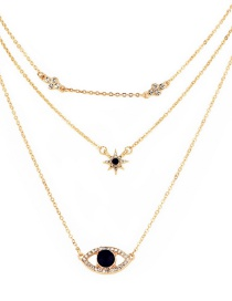 Fashion Gold Color Multi-layered Necklace With Full Diamond Eyes