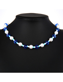 Fashion Blue Resin Pearl Rice Bead Necklace