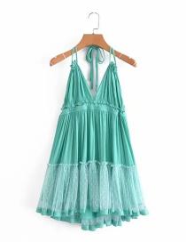 Fashion Green Mesh Stitching Halter Dress