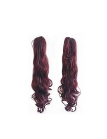 Fashion Red Wine Big Wave Catch Clip Wig