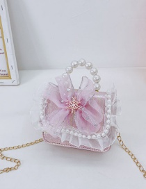 Fashion Butterfly Powder Children's Pearl Butterfly Lace Portable Messenger Bag