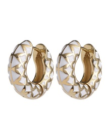 Fashion White Metal C-shaped Color Stitching Earrings
