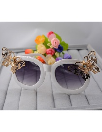 Fashion White Metal Butterfly Sunglasses