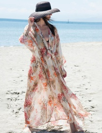 Fashion Red Coral Chiffon Print Red Coral Sunscreen Blouse