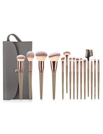Fashion 15pcs-big Mac-pen Gold+gray Pack 15 Beauty Makeup Brush Set With Storage Bag