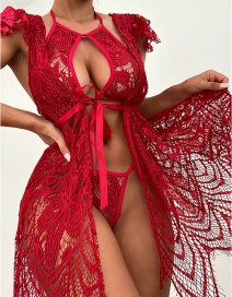 Fashion Red Lace Hollow Halter Neck Lace Two-piece Underwear