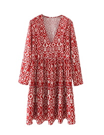 Fashion Red Printed V-neck Pullover Dress