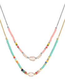 Fashion Color Resin Color Beads Shell Beaded Double Necklace