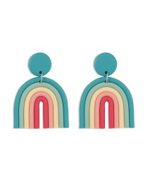 Fashion Red+green Contrasting Color Soft Clay U-shaped Alloy Earrings