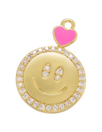 Fashion Rose Red Dripping Love Micro Diamond Smile Face Accessories