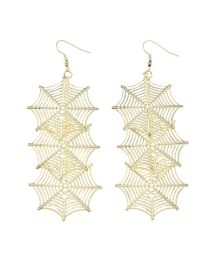 Fashion Gold Coloren Halloween Hollow Spider Web Earrings