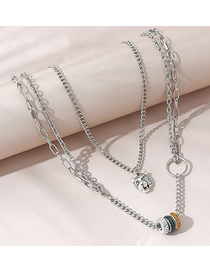 Fashion Silver Color Diamond And Beaded Leopard Head Alloy Multilayer Necklace