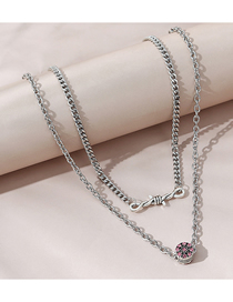 Fashion Silver Color Diamond-studded Rope And Gold Double Necklace