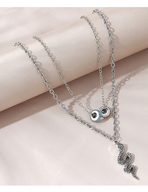 Fashion Silver Color Diamond Snake-shaped Beaded Alloy Double Necklace