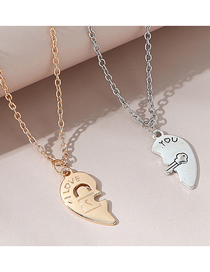 Fashion Color Mixing Love Open Letter Alloy Multilayer Couple Necklace