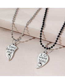 Fashion Silver Color Letter Love Open Alloy Multilayer Couple Necklace