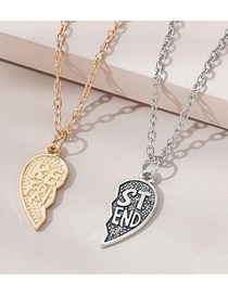 Fashion Color Mixing Letter Love Alloy Open Couple Necklace