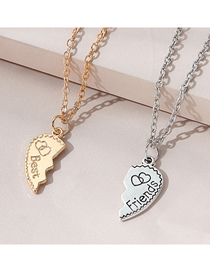 Fashion Color Mixing Love Letter Alloy Couple Necklace