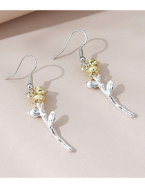 Fashion Color Mixing Flower Contrast Alloy Earrings