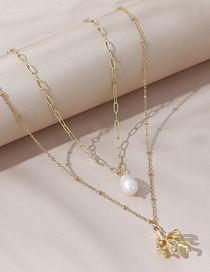 Fashion Gold Color Pearl Geometric Alloy Double Necklace