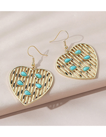Fashion Gold Color Love Turquoise Geometric Alloy Earrings
