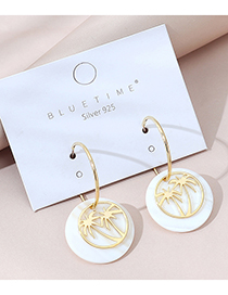 Fashion Golden Real Gold-plated Coconut Tree Geometric Round Earrings