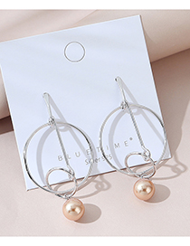 Fashion Silver Real Gold Plated Hollow Pearl Round Earrings