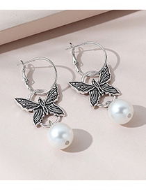 Pendientes De Aleación Geométrica De Perlas De Mariposa