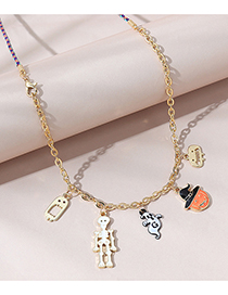 Fashion Gold Color Dripping Oil Skull Ghost Necklace