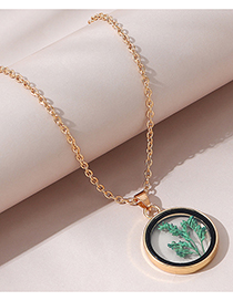 Fashion Gold Color Glass Grass Round Alloy Necklace