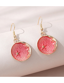 Fashion Watermelon Red Painted Oil Small Five-pointed Star Round Earrings