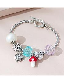 Fashion Silver Color Peach Heart Small Mushroom Diamond Alloy Bracelet