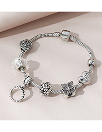 Fashion Silver Color Diamond-studded Butterfly Combined With Gold Bracelet