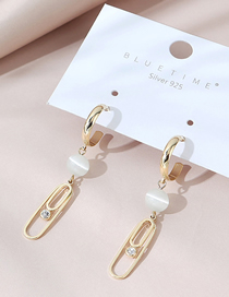 Fashion 14k Gold Real Gold Plated Opal Crystal Earrings