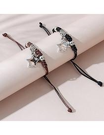 Fashion Black+brown Five-pointed Star Bracelet Set