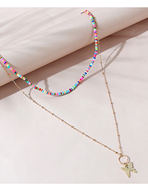 Fashion Color Butterfly Beaded Multilayer Necklace
