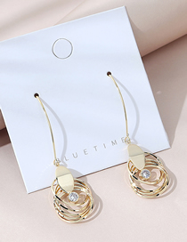Fashion Golden Real Gold Plated Crystal Multi Hoop Earrings