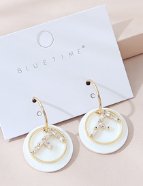 Fashion White Real Gold Plated Acrylic Letter Earrings