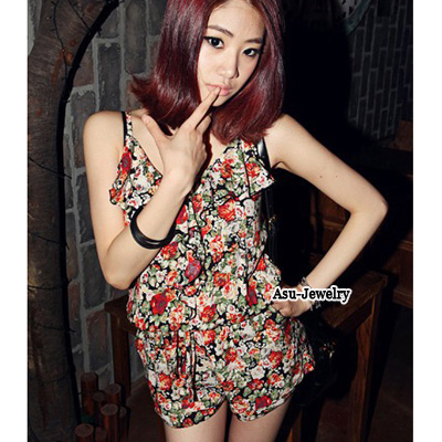 Fashion Blue Flower Pattern Decorated Sleeveless Dress