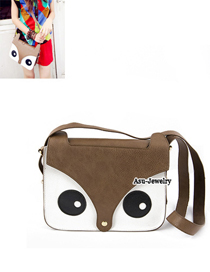 Cubic dark Coffee Fox Head Pattern Design PU Shoulder bags