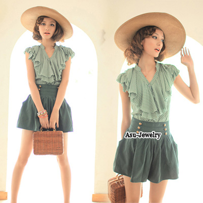 Fashion Green Plantain Pattern Decorated Simple Dress