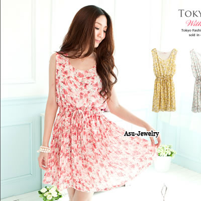 Fashion Pink Embroidery Flower Decorated Simple Dress