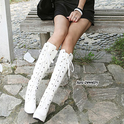 Order White Lace Up Rivet High Heel PU Boots