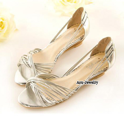 Lush Silver Color Ribbon Interlacing  Design PU Sandals