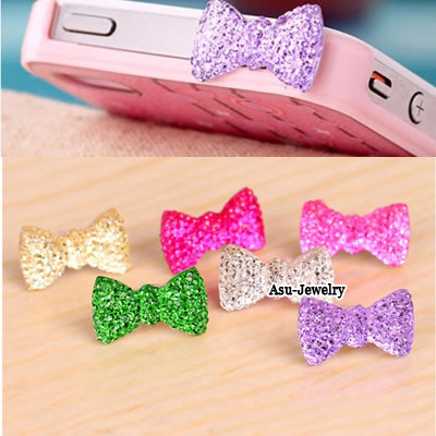 Collar pink diamond decorated fox design alloy Anti-Dust Plug