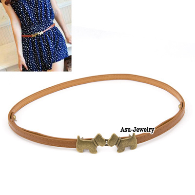 Exquisite Gold Color Double Leaf Decorated Simple Design Alloy Thin belts