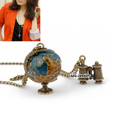 Flip Bronze Dreaming Travel Round The World Unique Design Alloy Korean Necklaces