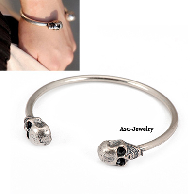 Teen Antique Silver Ouble Skull Heads Bead Fashion Bangles