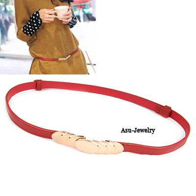 Exquisite Brown Double Dog Decorated Pure Color Design  Alloy Thin belts