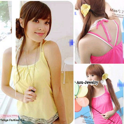 Fashion Pink Pure Color Design Hollow Out Neckline Loose Chiffon Vest